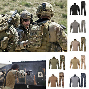 Mens-Multicam-Desert-Camo-Tactical-Combat-Warm-Frog-Suit-Shirt-amp-Pants-Set-Uniform
