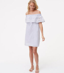 08a7dfc9954 NWT Ann Taylor LOFT Striped eyelet off the shoulder boho dress White ...