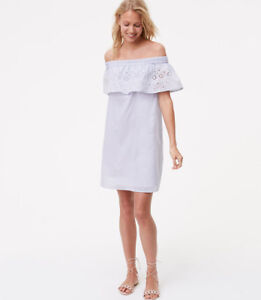 12ca0176e019 Details about NWT Ann Taylor LOFT Striped eyelet off the shoulder boho dress  White blue
