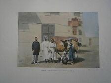 gravure 19° couleur Arabie Séoudite Palanquin pour les pélérins de la Mecque