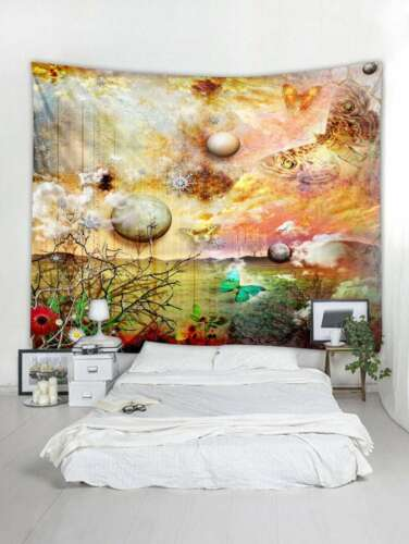 Wall Hanging Tapestry Art Planet Tapestry Butterfly Print Tapestry Room Home Dec