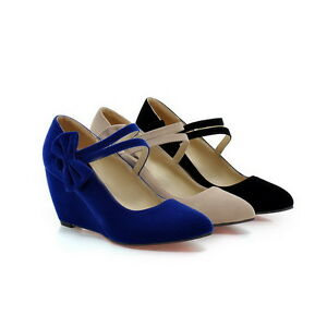 2016-Womens-High-Wedge-Heel-Pointy-Toe-Bowknot-mary-Janes-Suede-Shoes-Plus-Size
