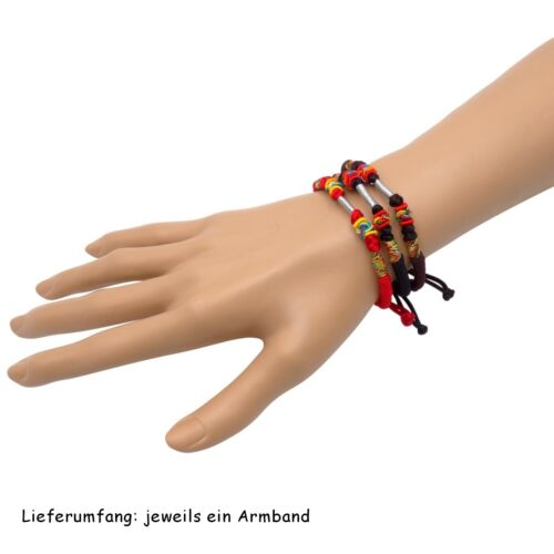 BENAVA Tibetisches Armband Tibet Buddhistischer Schmuck Schwarz Rot Braun Bunt