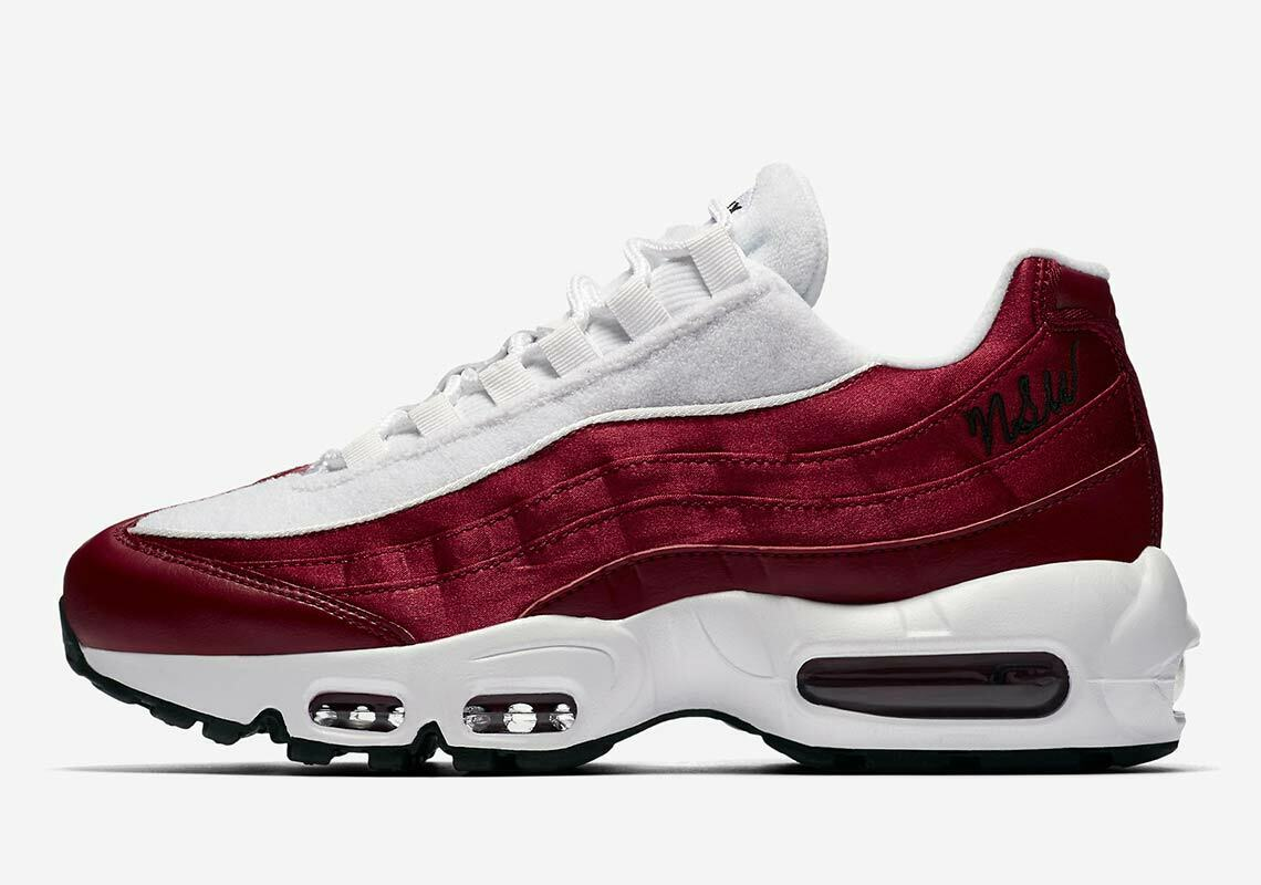 Nike Women's Air Max 95 LX NSW Satin & Cloth Red White AA1103-601 Size 8.5 US