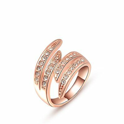 Hot Fashion Jewellery Alloy 18K Rose Gold Austrian Crystal Angel Wing Ring O Q