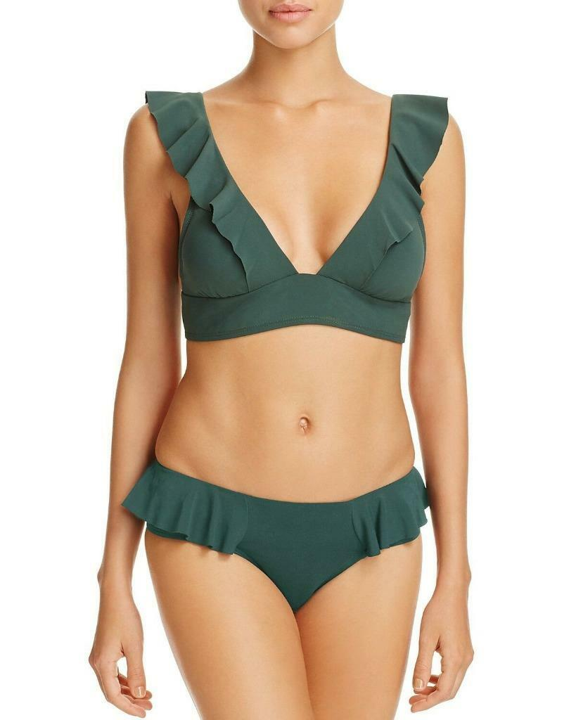 192 NWT Robin Piccone Green Lina Ruffle Bikini Swimsuit Set XS hja23