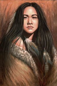quality design b48bf 8ba8a Image is loading Native-American-Indian-girl-Painting-Artwork-Signed-canvas-