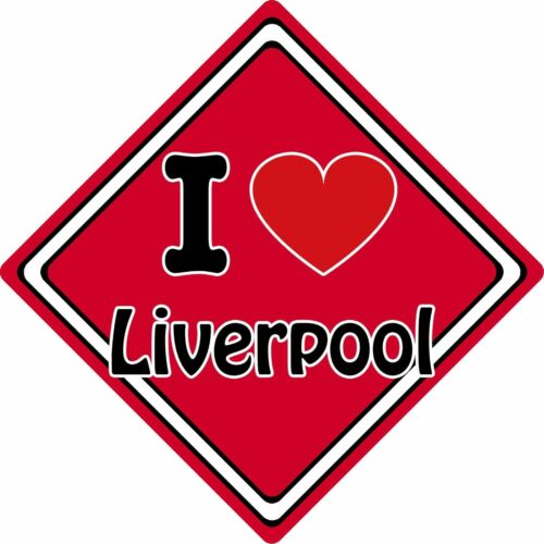 I Love Liverpool Car Sign ~ Support Your Town//City ~ Football//Rugby//Cricket