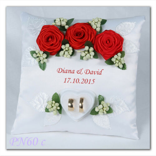 ~ Personalised wedding ring cushion pillow with rings holder box /& PEARL ~