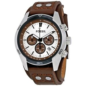 NEW-FOSSIL-COACHMAN-SILVER-TONE-BROWN-LEATHER-CUFF-BAND-CHRONOGRAPH-WATCH-CH2565