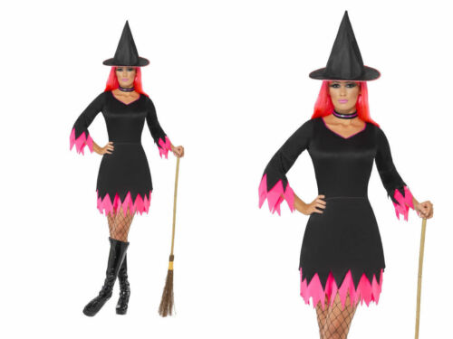 Pink Witch Ladies Witches Halloween Fancy Dress Costume Sizes 8-18