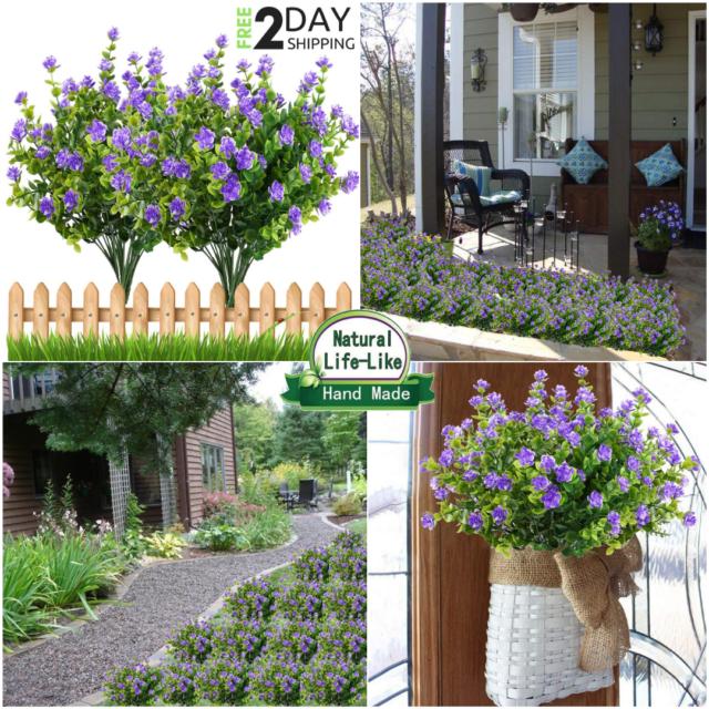 "28/"" Artificial Dandelion Flowers WHITE Outdoor Fake Plants Plastic Shrubs"