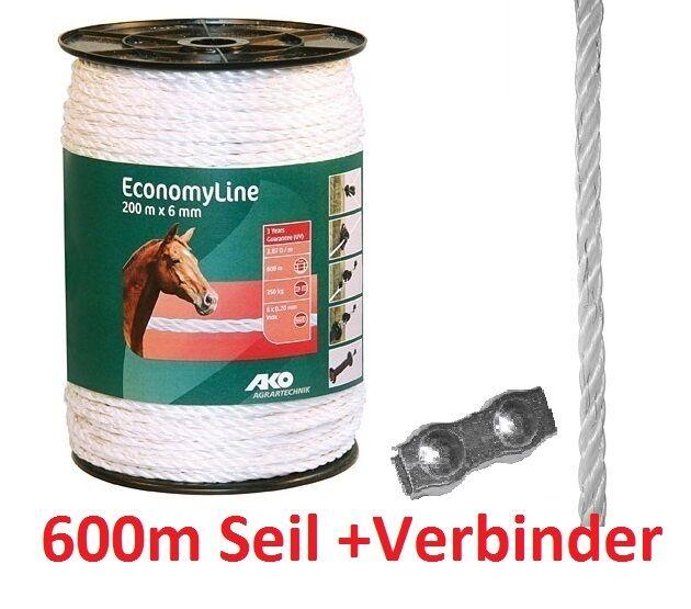 600 M Ako Corda Recinto Elettrico Zaunseil Economy Line di Scherma 6 mm Bianco