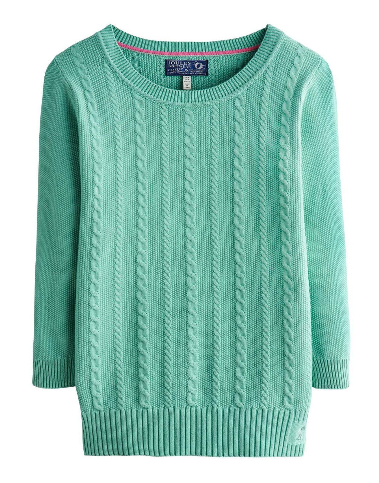 Joules pistache vert en tricot torsadé coton cleo pull bnwt taille 14.