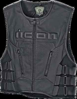 Mens Icon Black Leather Regulator Stripped Motorcycle Riding Armored Club Vest