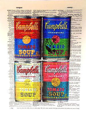 ArtN Wordz Andy Warhol Campbell Soup Original Dictionary Page Pop Art Wall Print