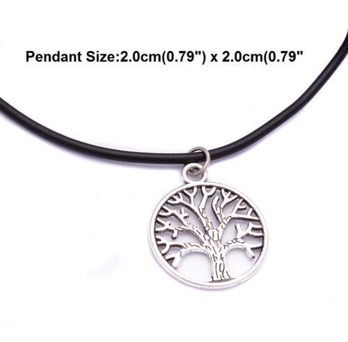 Cordon Cuir tour de cou plaqué argent charme collier pendentif Hippie Pour Femmes Hommes