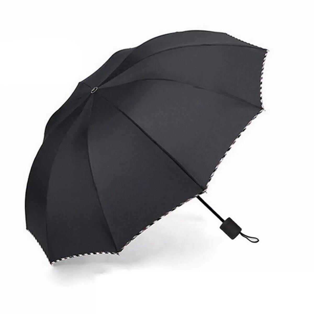 Oversize Umbrella Folding Windproof Strong Wind Rain UV Resistance Cover Black