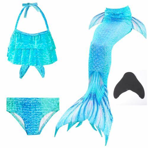 2020 Girls Swimmable Mermaid Tail Bikini Swimwear  Set Swimsuit Costume Monofin
