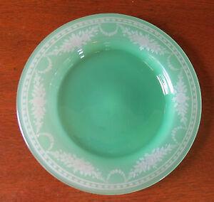 "Steuben Green Jade Engraved to Alabaster York Art Glass 8"" Plate(s)"
