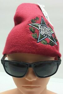 Guitar Hero HAT Knit BEANIE Ski Adult RED Winter CAP Rock Star Video Game NWT