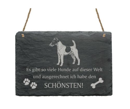 Schiefertafel « GLATTHAAR-FOXTERRIER SCHÖNSTER HUND » Spruch Hunde Dekoration