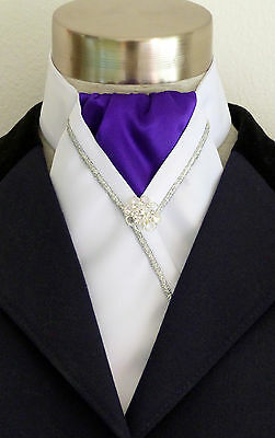 "ERA ""Kate"" Purple & White Stock Tie with Silver Piping & Pin"