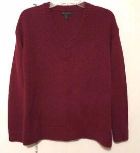 Banana Republic Womens Cable Knit Sweater V Neck Maroon Sz