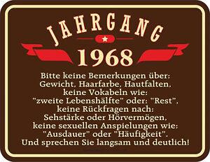 Details Zu 50 Jahre Jahrgang 1968 Blechschild Schild Spruch 22x17 Cm