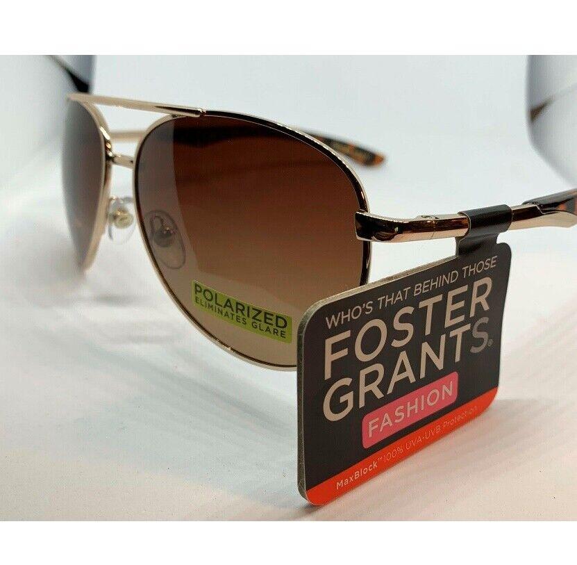Foster Grant Scout Gold Aviator Polarized Sunglasses,100% UVA/UVB Retail !