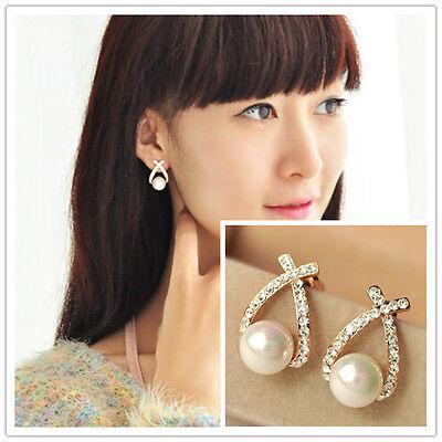 New Fashion Women Lady Elegant Crystal Rhinestone Cross Ear Stud Earrings Gift