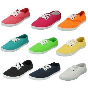 Mesdames F8813 Toile à Lacets Chaussures Par SPOT ON disponible £ 2.99