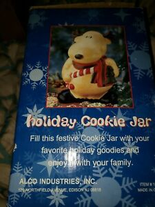New-In-Box-Moose-Cookie-Jar-Holding-Candy-Cane-amp-Wearing-A-Scarf