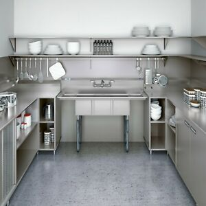 Details about 3 Compartment Stainless Steel Commercial Kitchen NSF Sink  with 2 Drainboards 54\