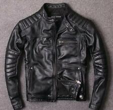 Men/'s Slim Fit Real Black Genuine Sheep Leather Biker Jacket Puffer  UK Seller