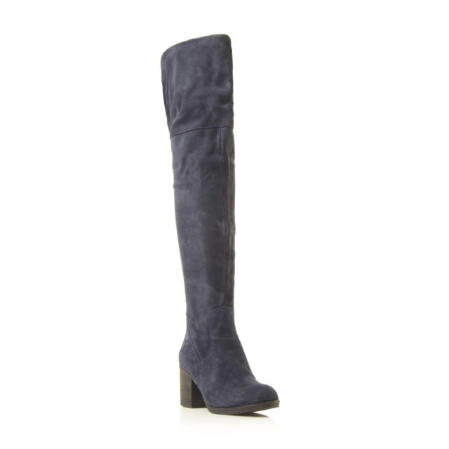 81280321b66 Steve Madden Ladies OCTAGON SM Suede Over The Knee Boot in Navy Size UK 6