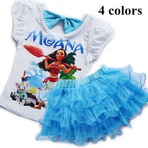 Brand-New-Kids-Baby-Girls-Moana-Summer-T-shirt-Skirt-2pcs-Sets-Dress-Outfits