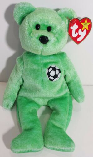 "A MUST HAVE! RETIRED TY Beanie Babies /""KICKS/"" the SOCCER Ball Teddy Bear MWMTs"
