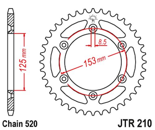 Stahl Kettenrad 38 Zähne 520 Teilung Honda CRF 450 R //RX PE7A 2017-2019