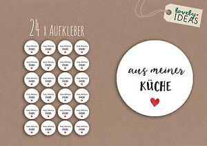 24-x-Geschenkaufkleber-034-aus-meiner-Kueche-034-40mm-weiss-Etiketten-Aufkleber-Sticker