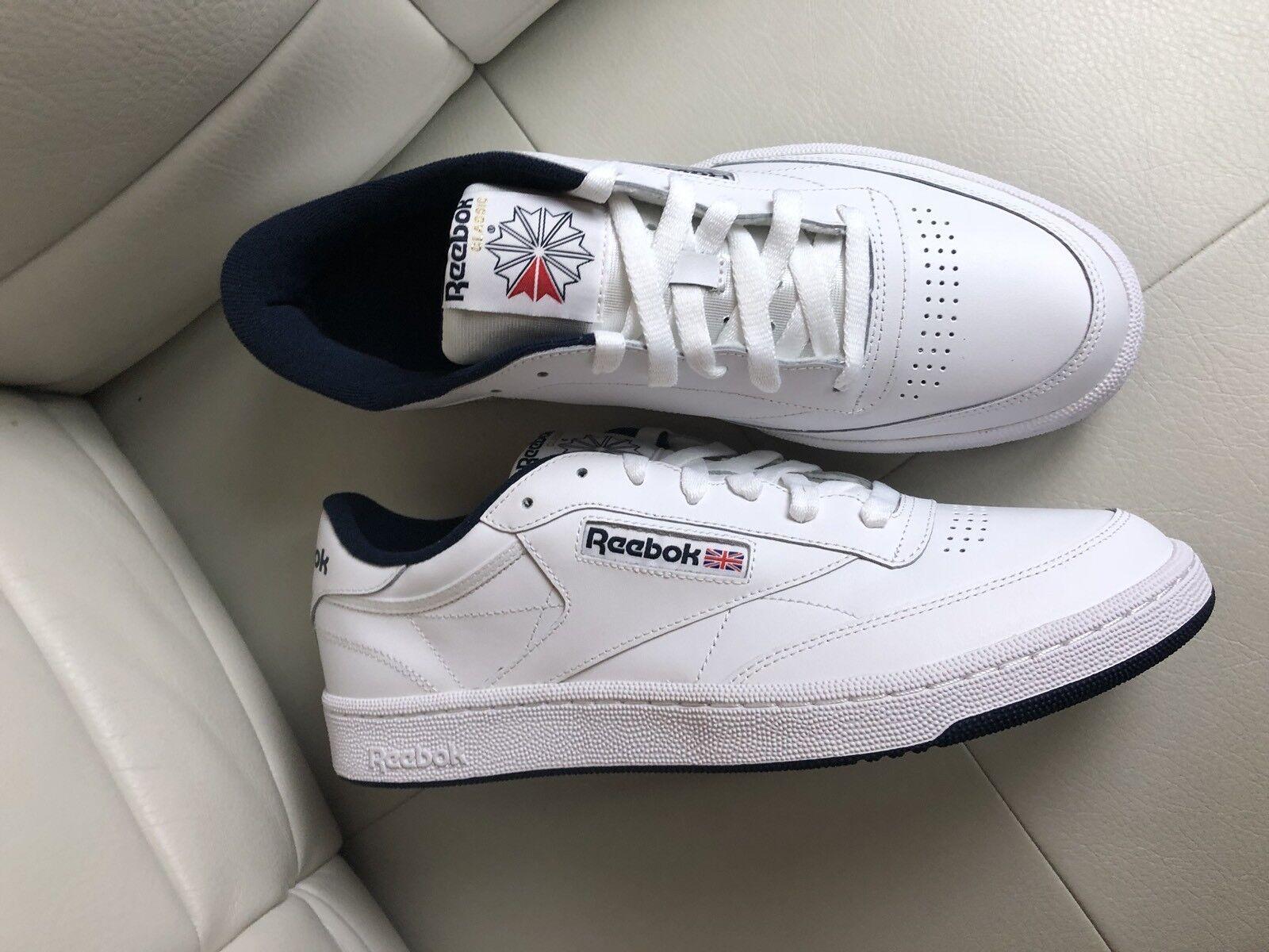 reebok White classic club c 85 White reebok Navy Size 10.5 31c01b