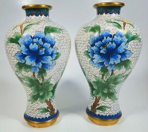 Pair of Antique 1920s Chinese Cloisonne Enamel Floral Motif on Bronze Vases