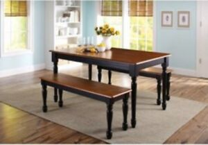 Sensational Details About Kitchen Dining Set Farmhouse Table 2 Benches And 2 Chairs Black Oak Finish Theyellowbook Wood Chair Design Ideas Theyellowbookinfo