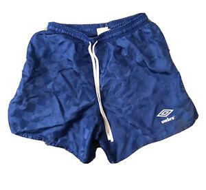 Vtg-90s-Umbro-CHECKERED-Soccer-Blue-Shorts-Silky-Nylon-Mens-Sz-Small