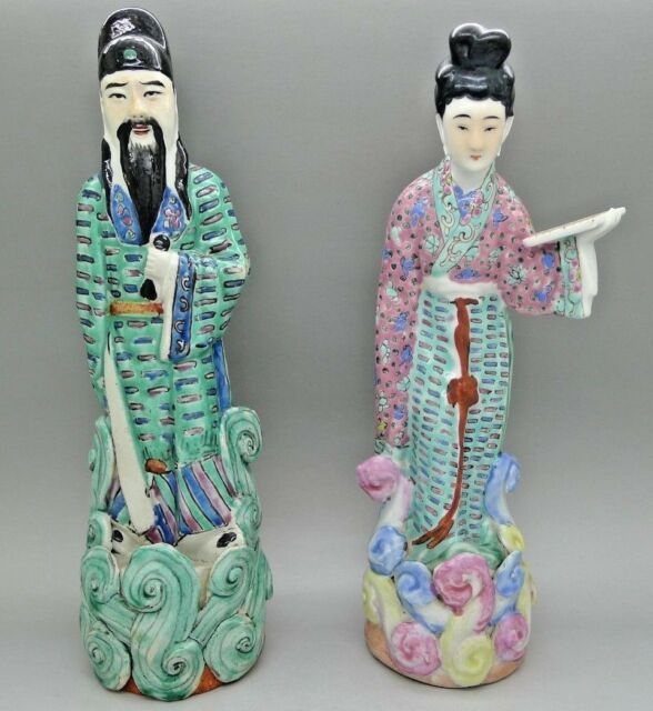 Chinese Antique Signed Man & Woman Figures Statues Signed on Bottom Painted
