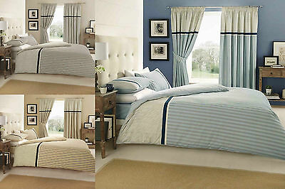 Valeria Stripe Duvet Quilt Cover Bedding Set Single Double King With Pillow Case