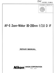 Nikon-AF-S-Nikkor-80-200mm-f2-8-D-IF-Service-Repair-Manual-Parts-List