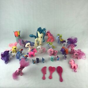 My Little Pony vintage retro Mixed Lot of 26 baby ponies And Three Brushes HG11