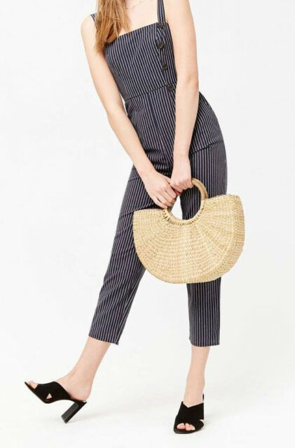 f66ae032408 Forever 21 Navy Blue White Striped Cropped Jumpsuit NWT LARGE