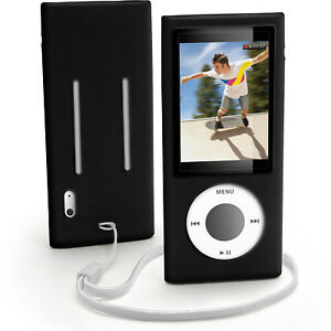 Negro-Silicona-piel-caso-para-Apple-iPod-Nano-5th-generacion-5G-cubrir-titular